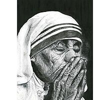 Mother Theresa Pen and Ink Drawing Photographic Print