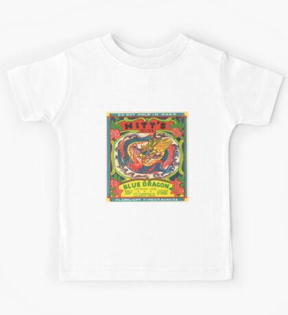 Fireworks Label - Blue Dragon Firecrackers Kids Tee