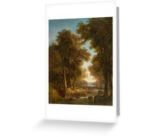 CALAME, ALEXANDRE (Vevey  Menton) Paysage avec arbres, eau, bergers et vaches (Landscape with trees, water, shepherds and cows).  Greeting Card