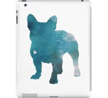 French Bulldog Watercolor Painting Silhouette Blue Kids  iPad Case/Skin