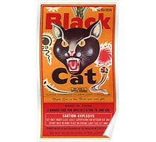 Vintage Fireworks Label:  Black Cat Firecrackers Poster