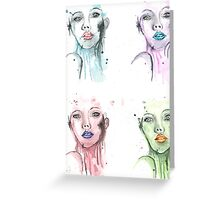 Colorful Woman Mixed Media Painting Greeting Card