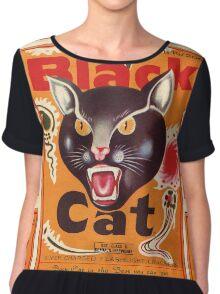 Vintage Fireworks Label:  Black Cat Firecrackers Chiffon Top