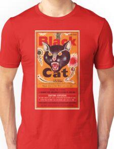 Vintage Fireworks Label:  Black Cat Firecrackers Unisex T-Shirt
