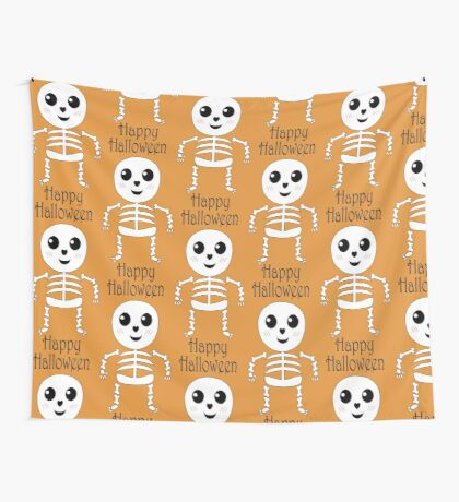 Cute Little Skeleton Kawaii Wall Tapestry