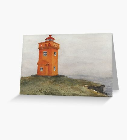 Watercolor Lighthouse at Grímsey, Iceland Greeting Card