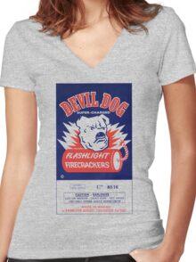 Vintage Fireworks Label: Devil Dog Firecrackers Women's Fitted V-Neck T-Shirt