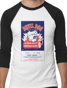 Vintage Fireworks Label: Devil Dog Firecrackers Men's Baseball ¾ T-Shirt