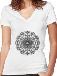 BLACK WHITE OM MANDALA Women's Fitted V-Neck T-Shirt