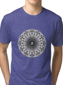 BLACK WHITE OM MANDALA Tri-blend T-Shirt