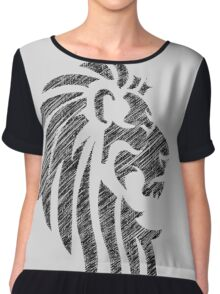 Lion Tribal Tattoo Style Distressed Design  Chiffon Top
