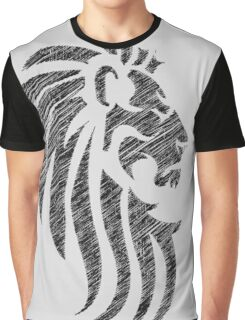 Lion Tribal Tattoo Style Distressed Design  Graphic T-Shirt