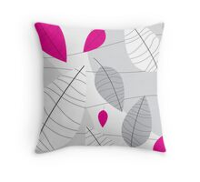 Grey, White & Pink Leaves Throw Pillow
