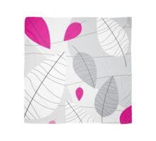Grey, White & Pink Leaves Scarf