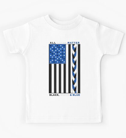 Black White and Blue All Lives Matter American Flag Kids Tee