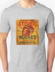 Vintage Fireworks label: Atomic Rocket Firecrackers Unisex T-Shirt