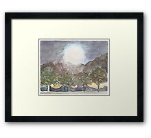 Harvest Moon Watercolor Framed Print