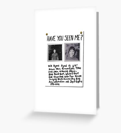 STRANGER THINGS - Will Byers Missing Poster Greeting Card