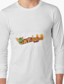 Oktoberfest header with sausage, German hat and beer. Long Sleeve T-Shirt