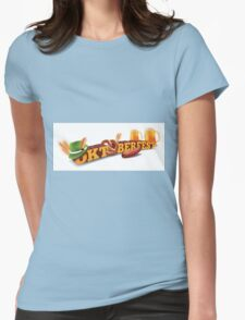 Oktoberfest header with sausage, German hat and beer. Womens Fitted T-Shirt