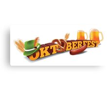 Oktoberfest header with sausage, German hat and beer. Canvas Print
