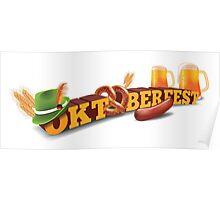 Oktoberfest header with sausage, German hat and beer. Poster