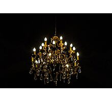 Crystal chandelier lighting in the big majestic hall, old-style Photographic Print