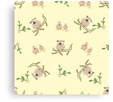 Pattern from little owls Canvas Print