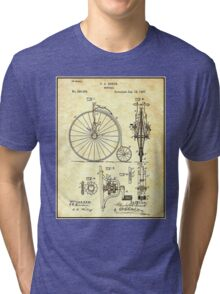 BICYCLE PATENT ; Vintage Papers Print Tri-blend T-Shirt