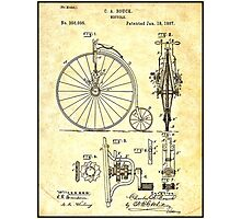 BICYCLE PATENT ; Vintage Papers Print Photographic Print