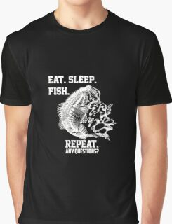 Eat Sleep Fish Repeat T-Shirt Funny Fishing Shirt Graphic T-Shirt