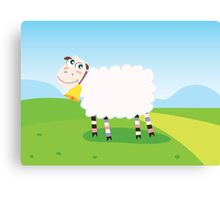 Happy sheep character for Kids. Vector Illustration Canvas Print