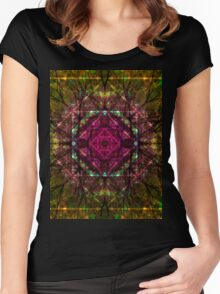 Autumn leaves kaleidoscope Women's Fitted Scoop T-Shirt