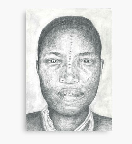 Tribal Man Pencil Drawing Canvas Print