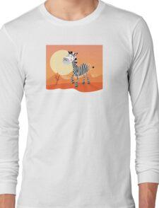 Funny zebra. Vector Illustration of safari animal Long Sleeve T-Shirt