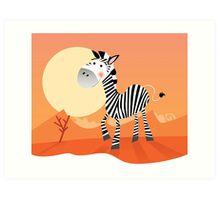 Funny zebra. Vector Illustration of safari animal Art Print