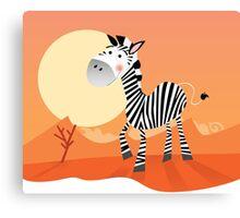Funny zebra. Vector Illustration of safari animal Canvas Print
