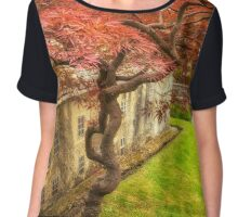 Red Tree In The Village Chiffon Top