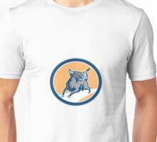 Raging Bull Attacking Charging Circle Retro Unisex T-Shirt
