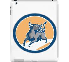 Raging Bull Attacking Charging Circle Retro iPad Case/Skin