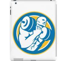 Man Lifting Dumbbell Circle Retro iPad Case/Skin