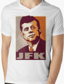 JFK Shepard Hope Style Poster (Sunset Hi-Res Textured) Mens V-Neck T-Shirt