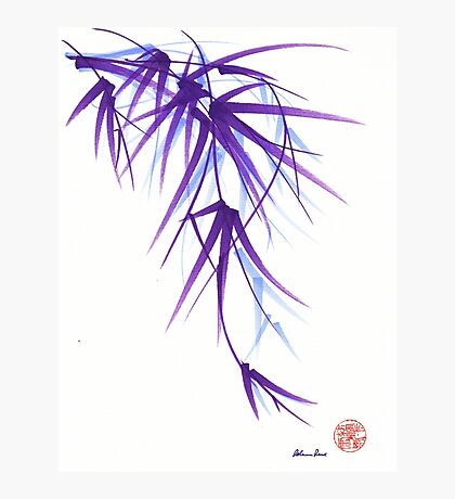 Summer - Lavender bamboo sumie brush painting Photographic Print
