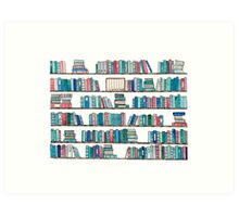Red & Teal Library Art Print