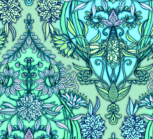 Botanical Moroccan Doodle Pattern in Mint Green, Lilac & Aqua Sticker