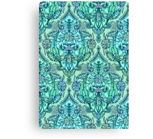 Botanical Moroccan Doodle Pattern in Mint Green, Lilac & Aqua Canvas Print