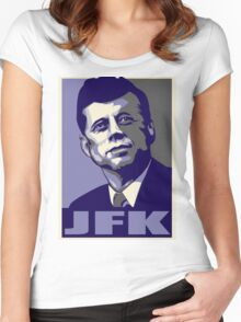 JFK Shepard Hope Style Poster (Violet Grey) Women's Fitted Scoop T-Shirt