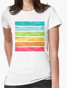 Watercolor Stripes Womens Fitted T-Shirt