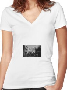 Lomography white and black photo with text Only my dream keeps me alive Women's Fitted V-Neck T-Shirt
