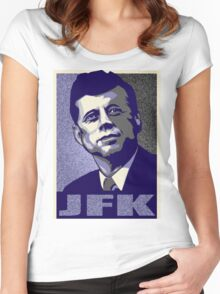 JFK Shepard Hope Style Poster (Violet Grey Hi-Res Textured) Women's Fitted Scoop T-Shirt